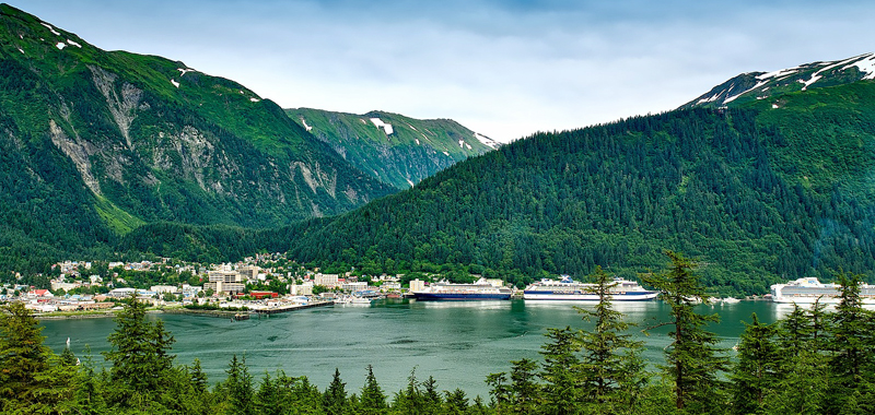 Cruise ships in Alaskan harbour