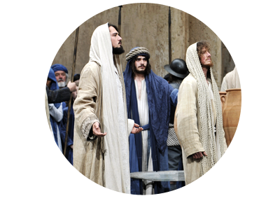 People in costumes on stage during the Passion Play