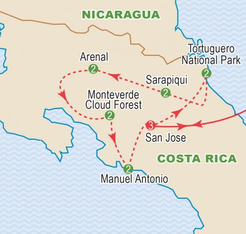 Map of Costa Rica tour itinerary.