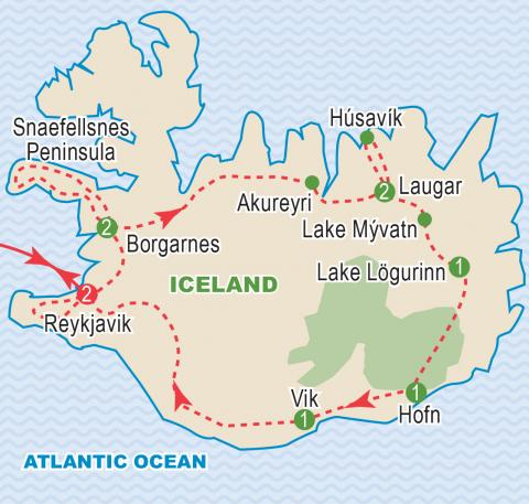 Map of Iceland, tour itinerary.