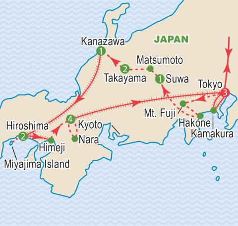 Map of Japan tour itinerary.