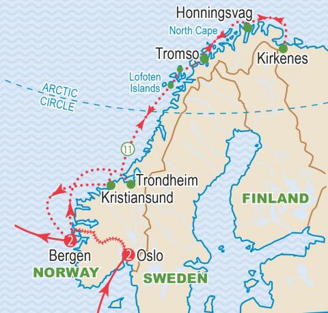 Map of Norway, cruise itinerary.