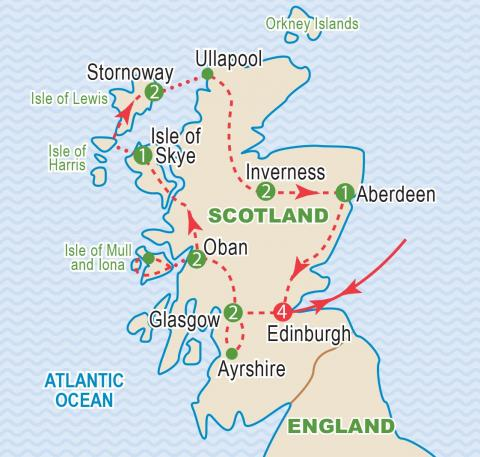 Map of Scotland, tour itinerary.