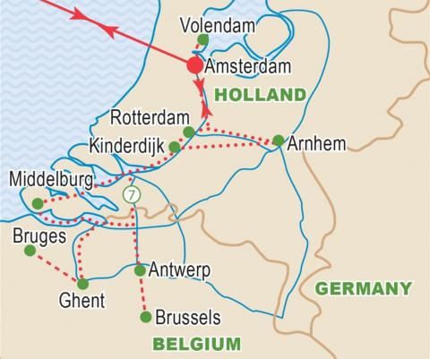 Map of Holland and Belgium, Cruise itinerary.
