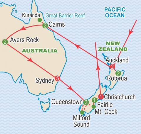 Map of New Zealand and Australia tour itinerary.