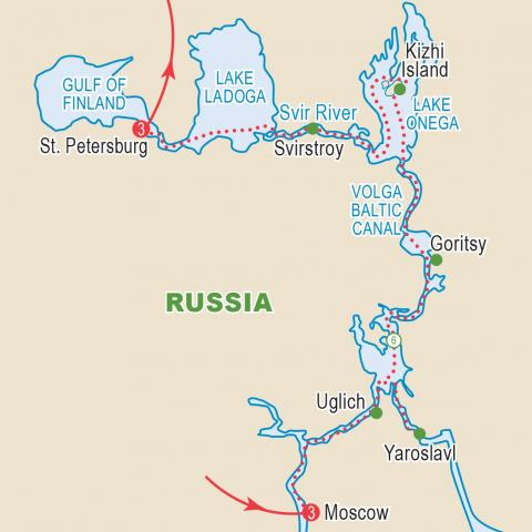 Map of Russia cruise itinerary.