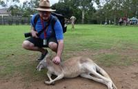 Rob with a Kangaroo on the 50th Anniversary Cruise