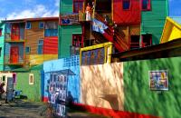 The colourful La Boca district, the haunt of artists.  Buenos Aires, Argentina.