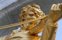 A monument of Johann Strauss in Vienna, Austria