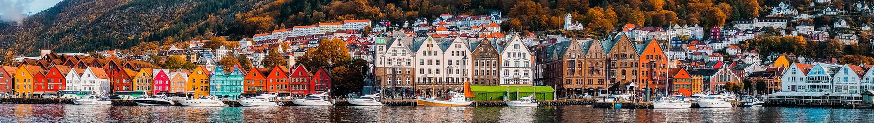 Colourful homes in Bergen, Norway.